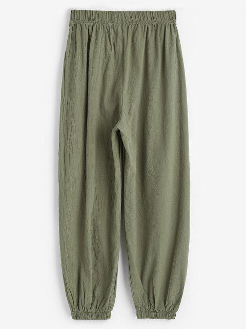 online Elasticated Cuffs Pull On Pants - GREEN L Mobile