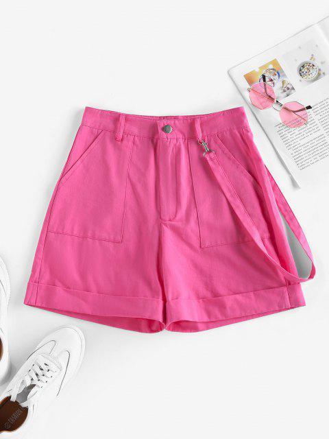 online ZAFUL High Waisted Pockets Palazzo Shorts - LIGHT PINK M Mobile