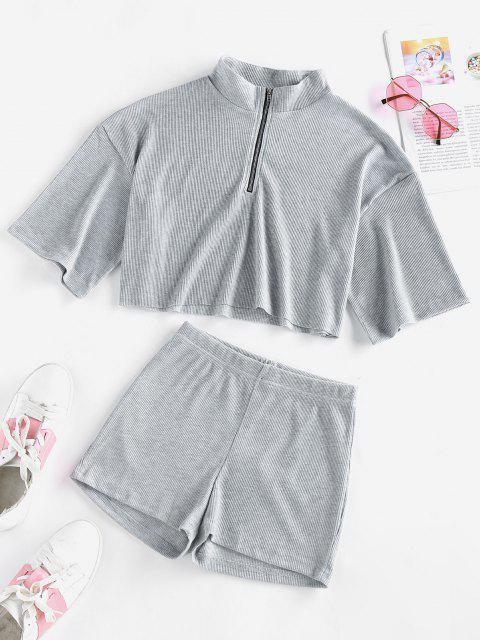 latest ZAFUL Half Zip Ribbed Knit Two Piece Shorts Set - LIGHT GRAY M Mobile
