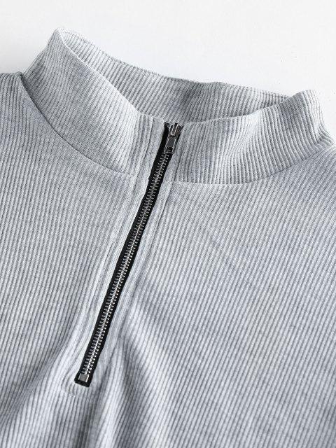 ZAFUL Halber Reißverschluss Gerippte Strick Zweiteilige Shorts Set - Hellgrau S Mobile