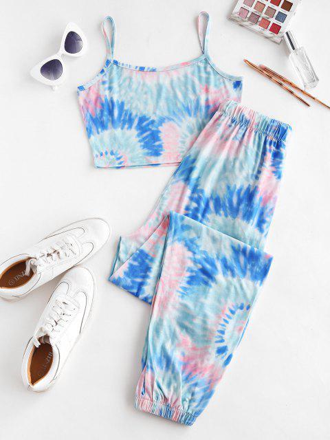 ZAFULDosPiezasde Jogger de Bolsillo con Estampado de Tie Dye - Azul Profundo S Mobile