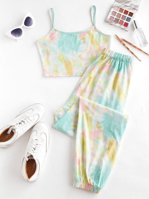 Pantaloni da Jogging di Tie-Dye con Tasca e Coulisse di ZAFUL - Verde M Mobile