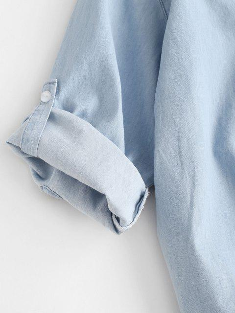 Camisa Manga Larga Cambray Bolsillo Delantero - Azul Claro L Mobile