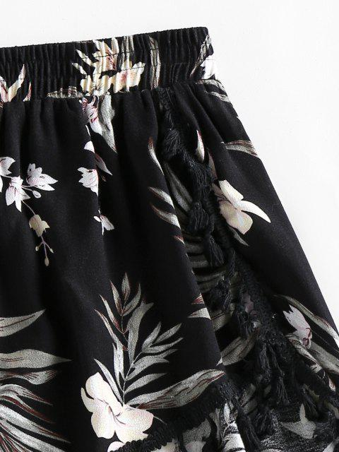 chic ZAFUL Floral Tassels Dolphin Shorts - BLACK XL Mobile