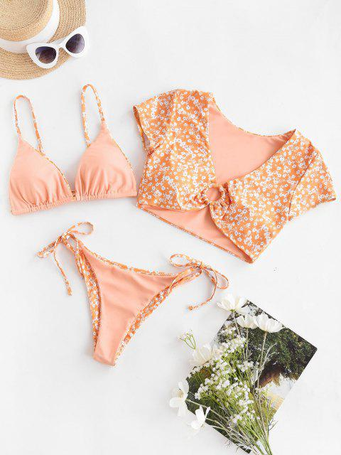 ZAFUL Traje de Baño Tres Piezas con Anillo Floral Reversible - Sandy Brown S Mobile