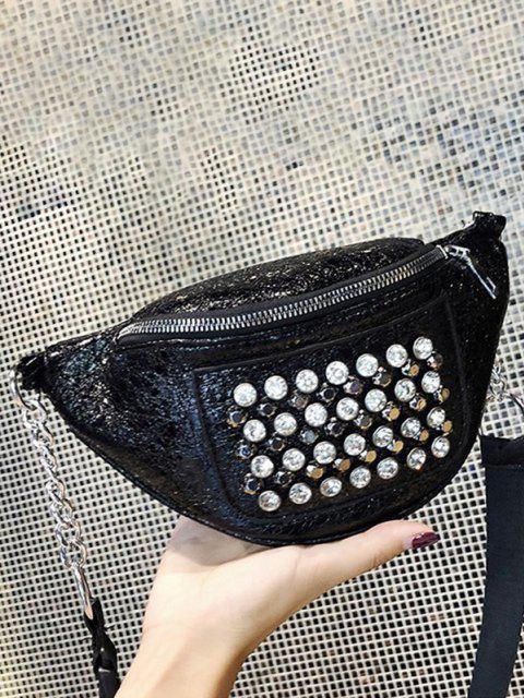 Strass Nieten Leder Brust-Tasche - Schwarz  Mobile