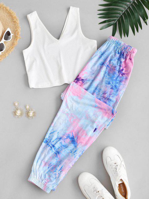 women's Ribbed Tie Dye Drawstring Two Piece Pants Set - WHITE S Mobile