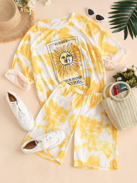 women's Tie Dye Sun Print Drop Shoulder T-shirt and Shorts Set - YELLOW S Mobile