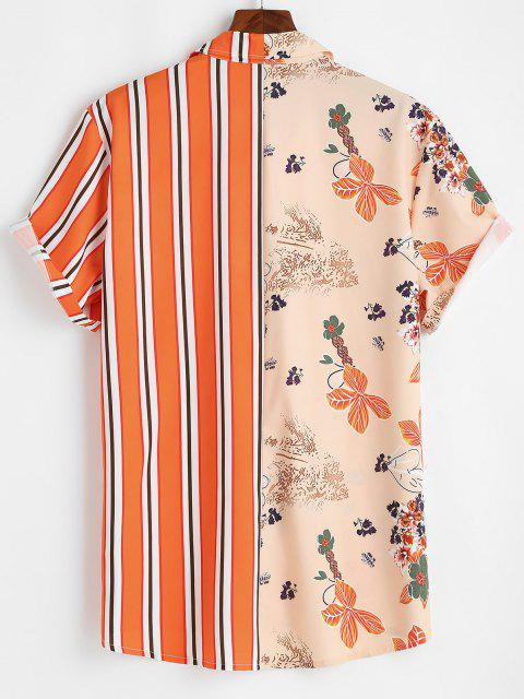 women's Flower Stripes Print Vacation Shirt - DARK ORANGE S Mobile