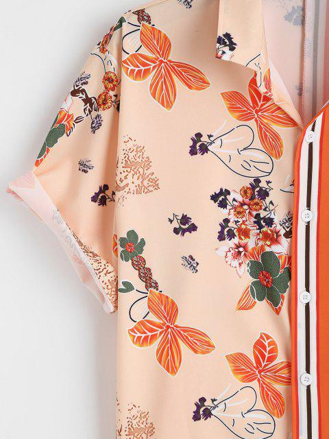 hot Flower Stripes Print Vacation Shirt - DARK ORANGE 2XL Mobile