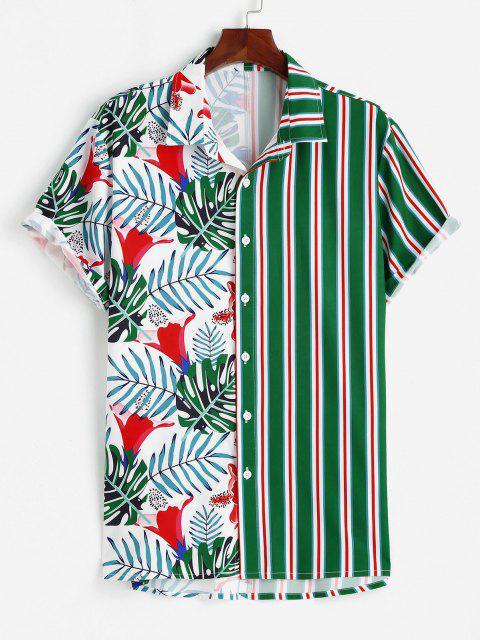 Tropisches Blatt Streifendruck Urlaub Hemd - Grün 2XL Mobile