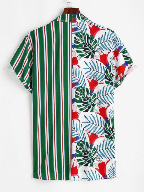 Camisa a Rayas con Estampado de Hojas Tropicales - Verde M Mobile
