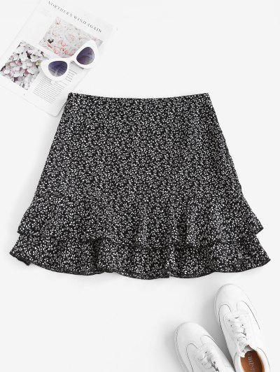 Ditsy Print Layered Ruffle Skirt - Black S