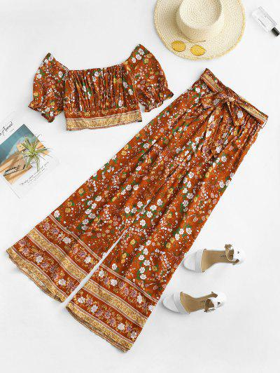Ditsy Floral Smocked Top And Wide Leg Pants Set - Coffee S