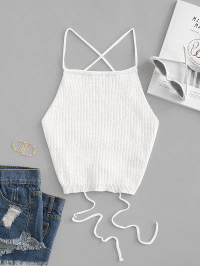 Lace Up Knitted Crop Cami Top - White