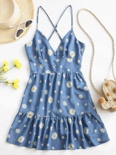 ZAFUL Daisy Print Criss Cross Flounce Hem Backless Dress - Blue M
