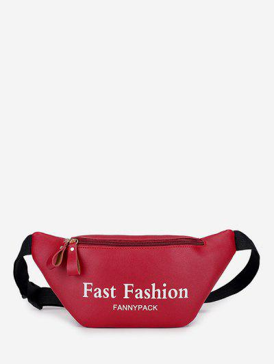 Letter Pattern Sports Waist Bag - Red