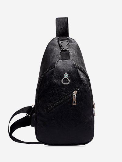 Retro Zipper PU Crossbody Bag - Black