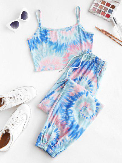 ZAFUL Tie Dye Pocket Drawstring Jogger Pants Set - Deep Blue L