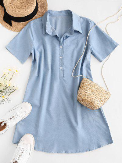 Chambray Placket Button Tab Sleeve Shirt Dress - Light Blue M