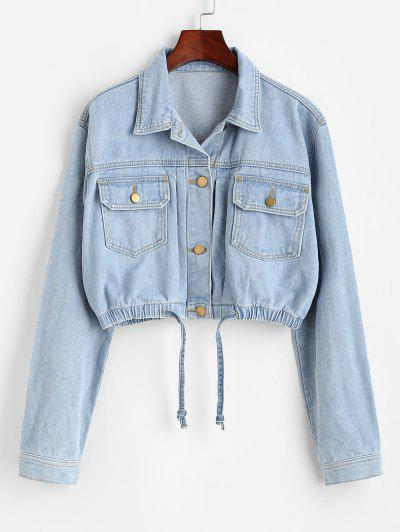 Cropped Drawstring Hem Denim Jacket - Light Blue Xl