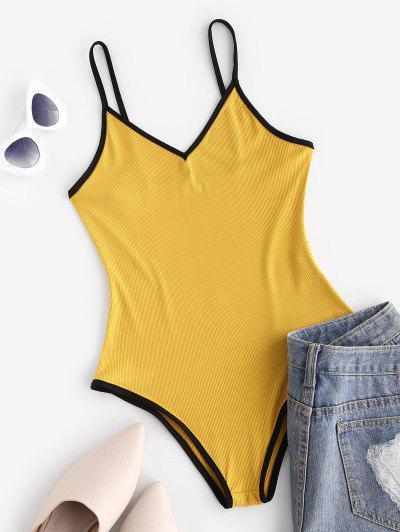 Ribbed Open Back Ringer Bodysuit - Yellow M