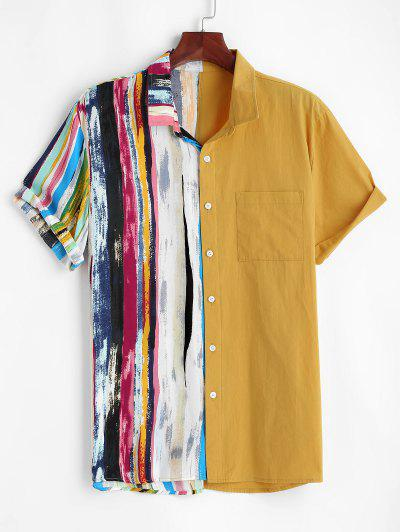 Contrast Stripes Print Pocket Patch Vacation Shirt - Yellow S