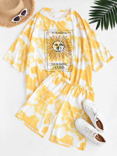 Tie Dye Sun Print Drop Shoulder T-shirt And Shorts Set - Yellow L