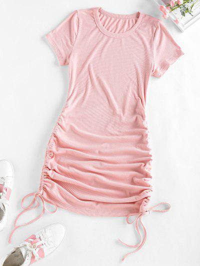 ZAFUL Ribbed Cinched Bodycon Mini Dress - Light Pink M