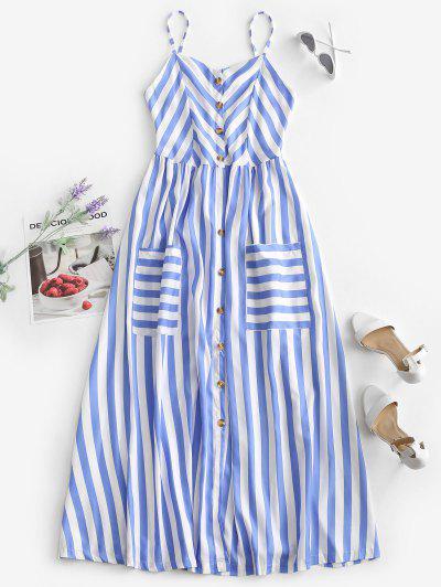 Vestido De Tirante Fino A Rayas Con Botones Con Bolsillo - Azul M