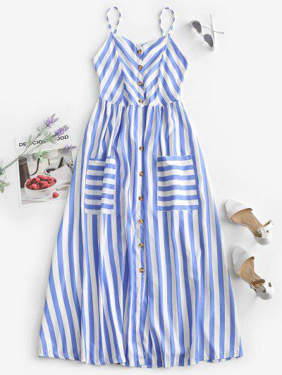 Striped Button Through Pocket Cami Dress - Blue S