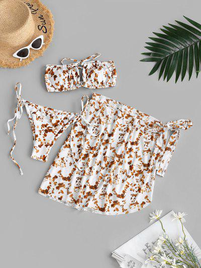 ZAFUL Mesh Tie Dye Cutout Strapless Three Piece Bikini Swimwear - Coffee L