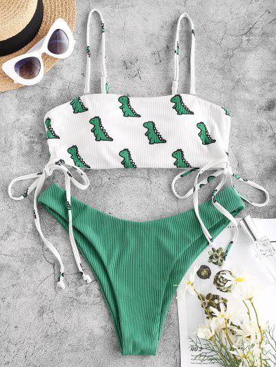 ZAFUL Ribbed Dinosaur Print Cinched Bikini Swimwear - Deep Green L