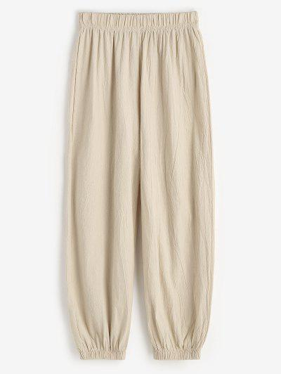 Elasticated Cuffs Pull On Pants - Light Coffee M