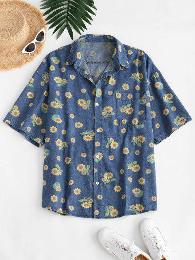 Camisa Jeans Com Bolso Frontal - Azul Xl