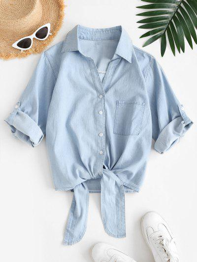 Front Pocket Tie Front Chambray Shirt - Light Blue M