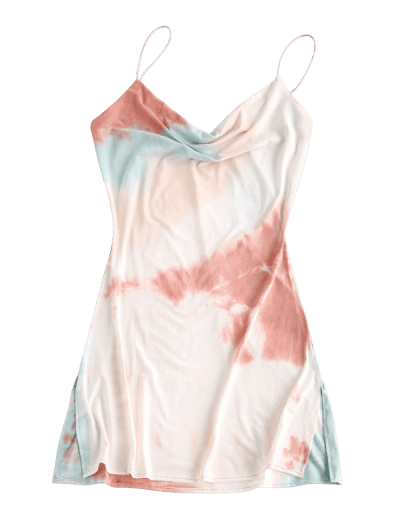 Cowl Neck Tie Dye Side Slit Cami Dress