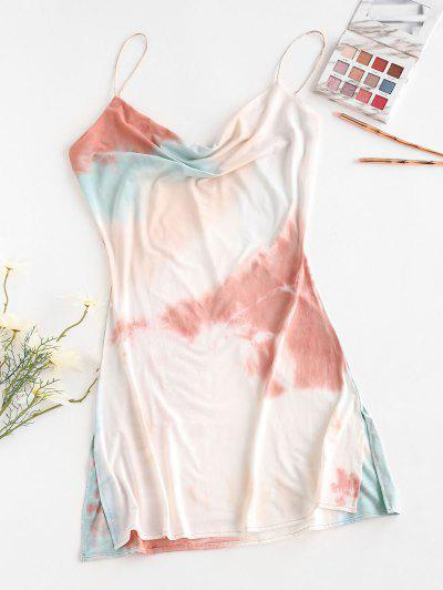 Cowl Neck Tie Dye Side Slit Cami Dress - Multi M
