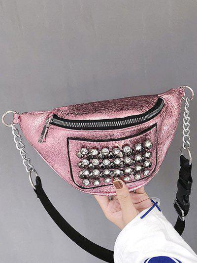 Rhinestone Studded Leather Chest Bag - Light Pink