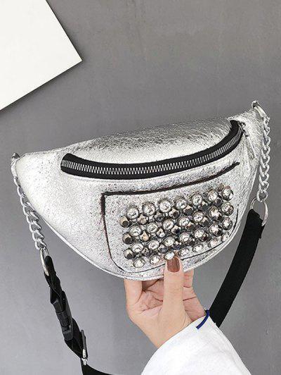 Rhinestone Studded Leather Chest Bag - Silver