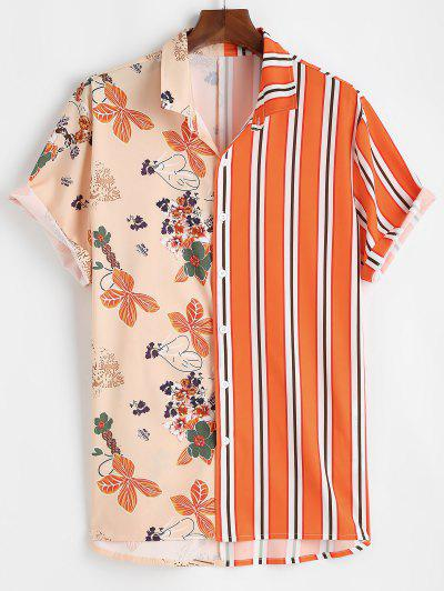 Flower Stripes Print Vacation Shirt - Dark Orange L