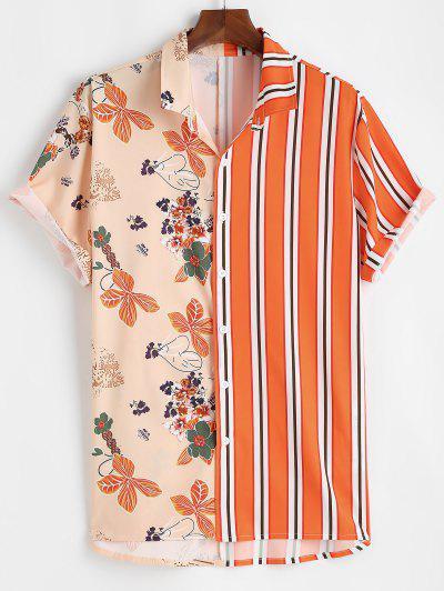 Blumen Streifendruck Urlaub Hemd - Dunkles Orange M