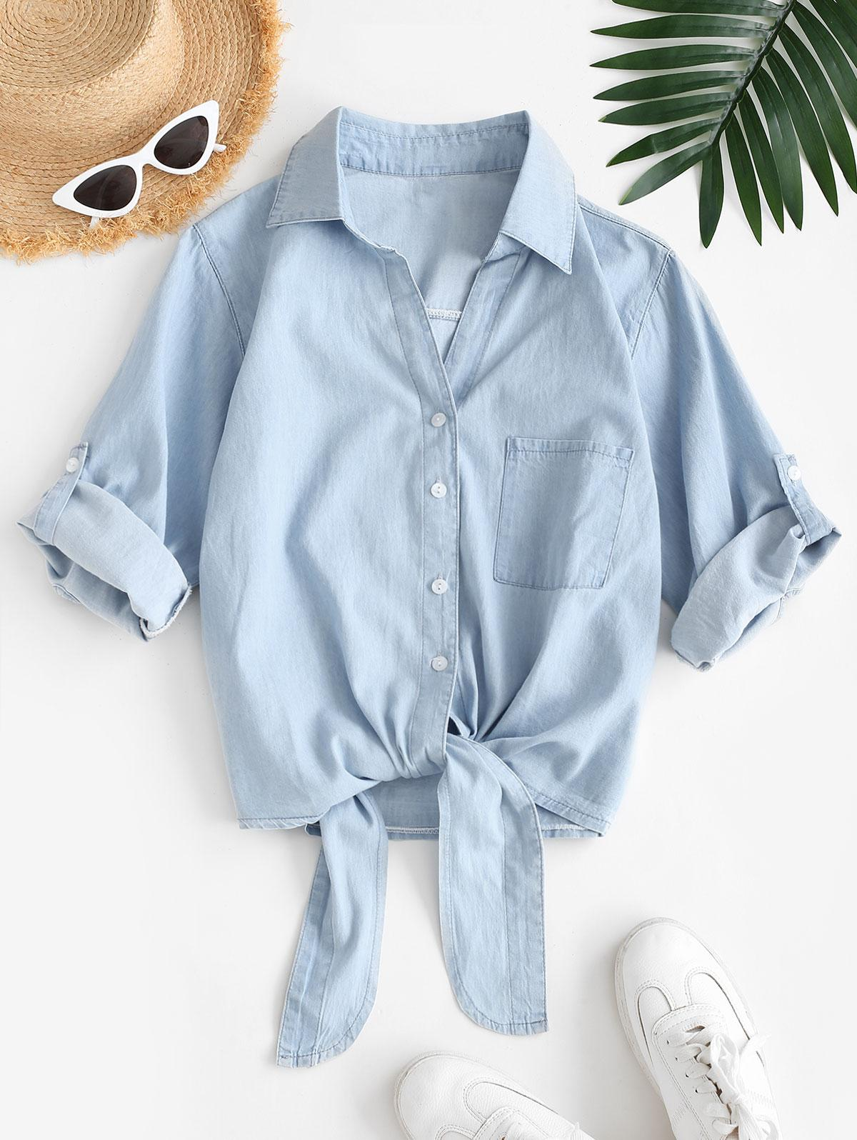 Front Pocket Tie Front Chambray Shirt