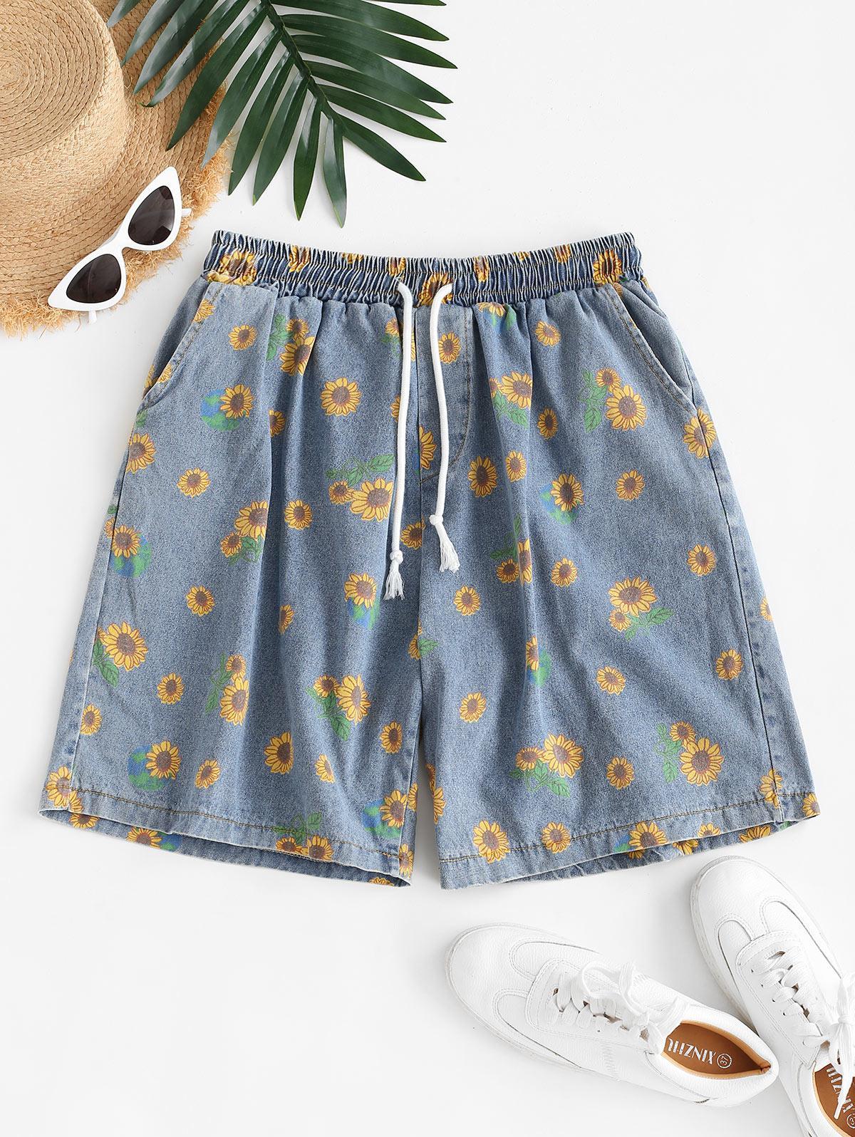 Drawstring Sunflower Denim Bermuda Shorts