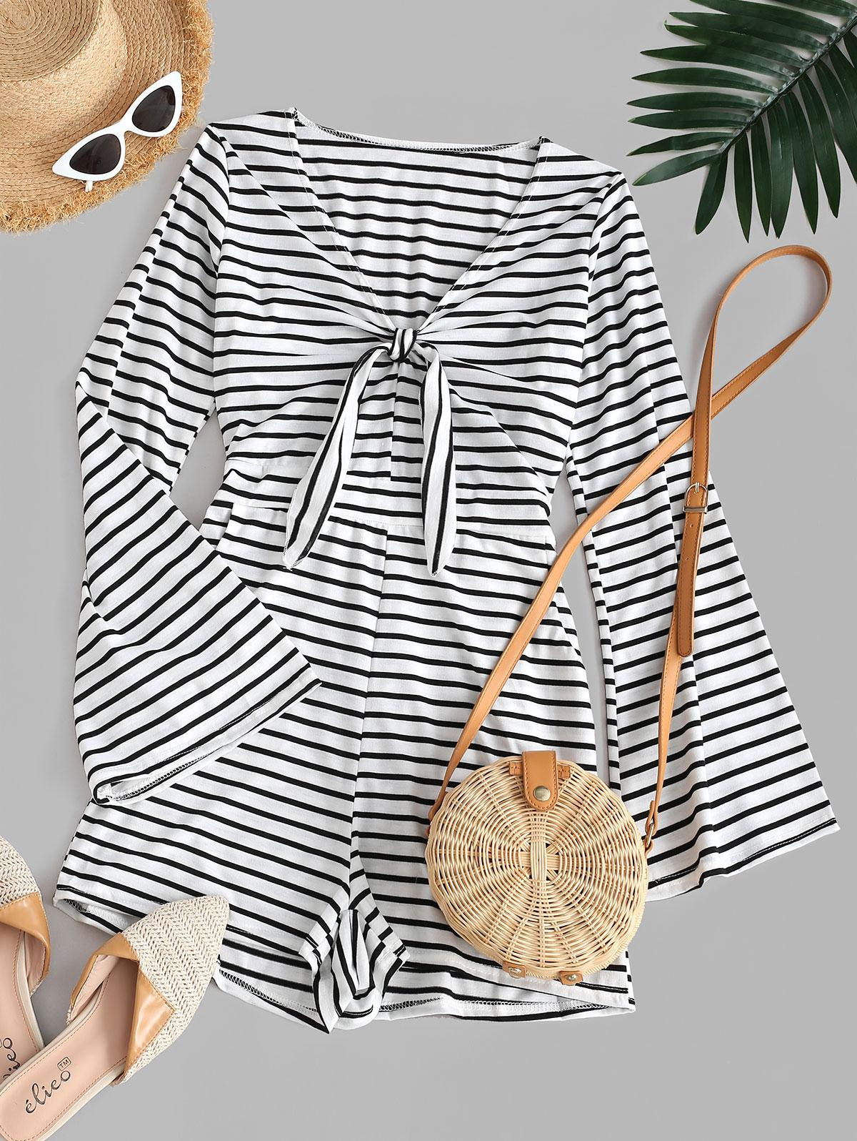 Stripes Flare Sleeve Tie Front Romper