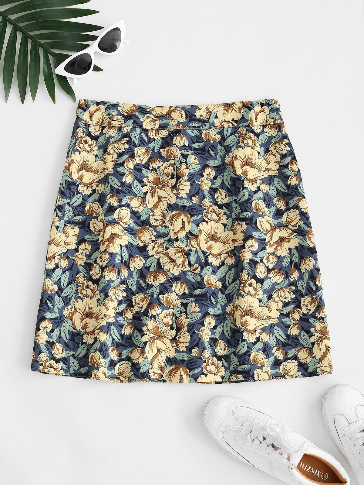Floral Back Zipper Mini Skirt