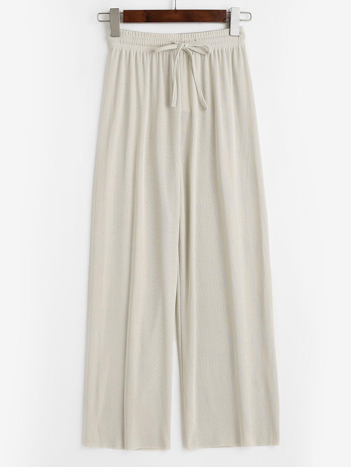 Drawstring Raw Hem Wide Leg Jersey Pants
