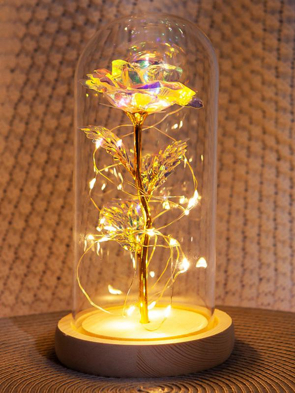 Valentines Day Artificial Rose Flower In A Bottle with LED Light
