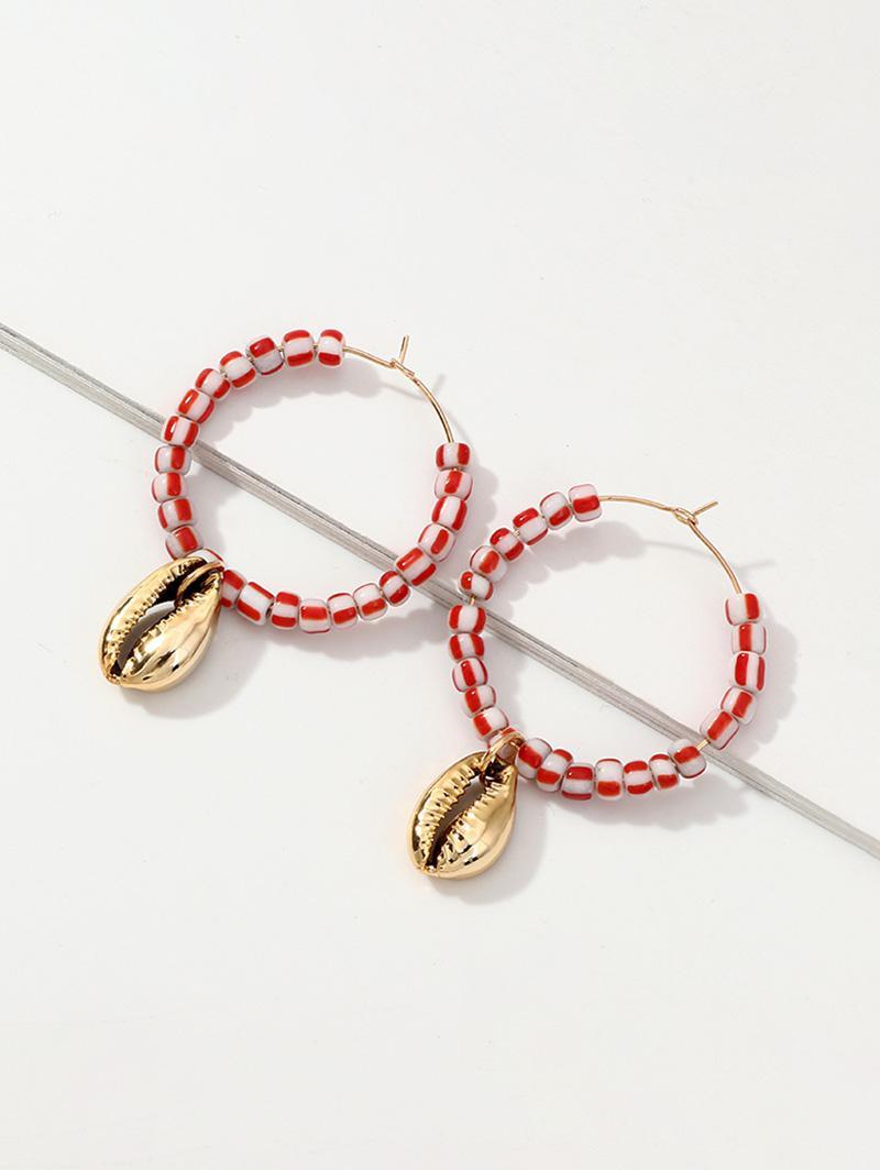 Cowrie Shell Beaded Hoop Earrings