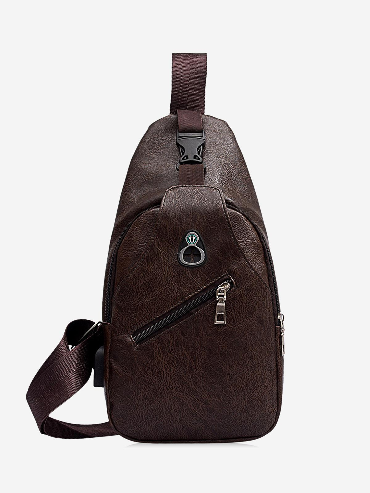 Retro Zipper PU Crossbody Bag